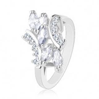 Ligotavý prsteň v striebornom odtieni, okrúhle a zrnkové zirkóny čírej farby - Veľkosť: 48 mm