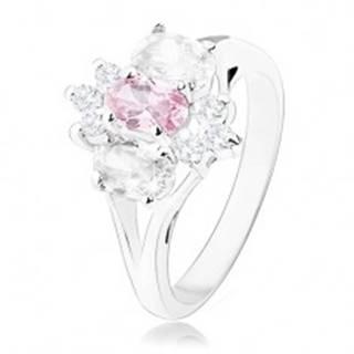 Ligotavý prsteň v striebornom odtieni, rozdelené ramená, ružovo-číry kvet - Veľkosť: 49 mm