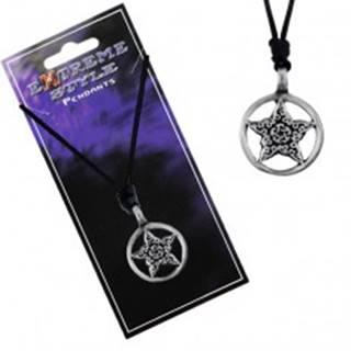Náhrdelník - čierna šnúrka, hviezda s ornamentmi v kruhu