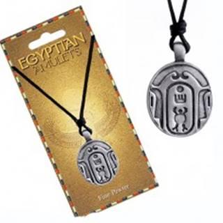 Náhrdelník – čierna šnúrka, kovový prívesok, oválny egyptský amulet