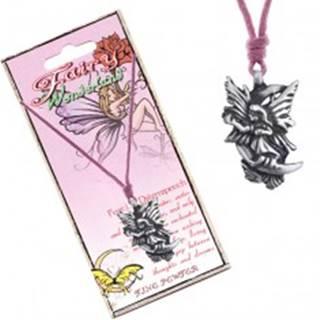 Náhrdelník - ružová šnúrka, kovový prívesok, snová víla