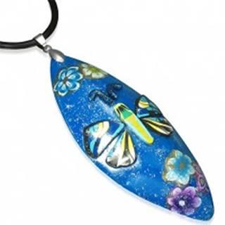 Náhrdelník z FIMO hmoty - modrý ovál, motýľ