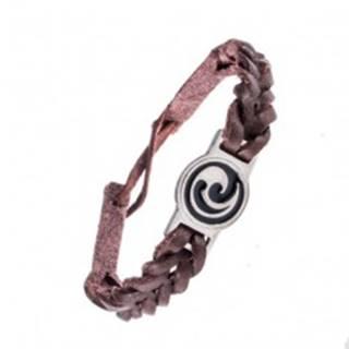 Náramok z kože - tmavohnedý, prepletený, maorský ornament
