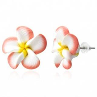 Náušnice Fimo - lososovo biele lupene, kvet Plumeria