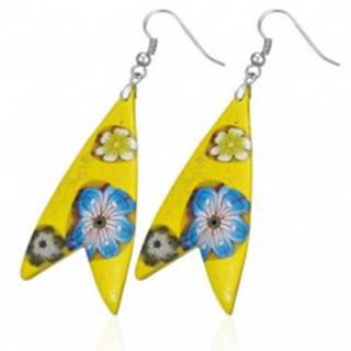 Náušnice Fimo - žltý trojuholník, tvar rybka, kvietky