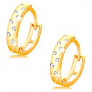 Náušnice v žltom 14K zlate - lesklé krúžky posiate čírymi zirkónikmi