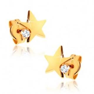 Náušnice v žltom 9K zlate - lesklá päťcípa hviezda, číry zirkónik
