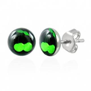 Oceľové náušnice - zelené čerešničky na čiernom podklade