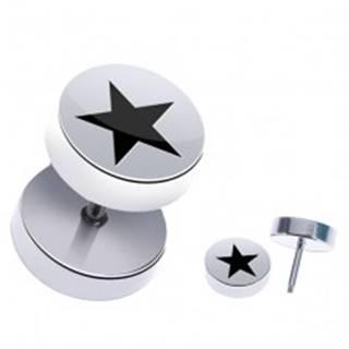 Oceľový fake piercing do ucha - lesklý, okrúhly, päťcípa hviezda