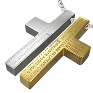 Oceľový prívesok pre dvoch - kríž, modlitba