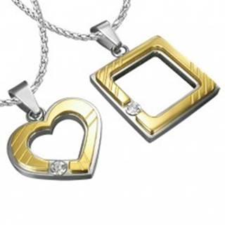 Oceľový prívesok pre zamilovaných - štvorec, srdce, zirkón
