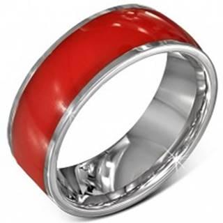 Oceľový prsteň - lesklá červená obrúčka, okraje striebornej farby, 8 mm - Veľkosť: 54 mm