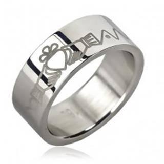 Oceľový prsteň - srdce v rukách, zúbky, retiazka - Veľkosť: 51 mm