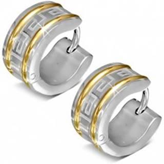 Okrúhle náušnice z chirurgickej ocele, dve línie zlatej farby, grécky kľúč