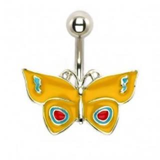 Piercing do brucha - žltý motýľ