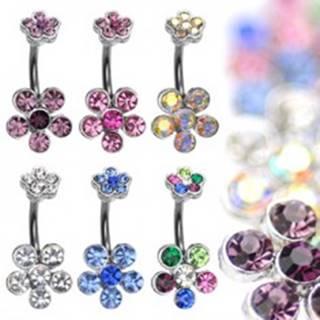 Piercing do bruška z ocele s farebnými zirkónovými kvetmi - Farba zirkónu: Číra - C