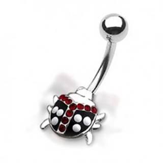 Piercing do pupku - bodkovaná lienka s červenými zirkónmi