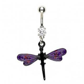 Piercing do pupku vážka - fialovo čierne krídla
