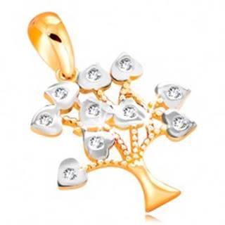Prívesok zo 14K zlata - stromček šťastia, listy zdobené bielym zlatom a zirkónmi