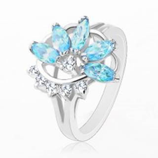 Prsteň s lesklými rozdelenými ramenami, modro-číry polovičný kvet - Veľkosť: 48 mm