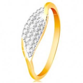 Prsteň v 14K zlate - veľké zrnko so vsadenými zirkónikmi čírej farby - Veľkosť: 50 mm