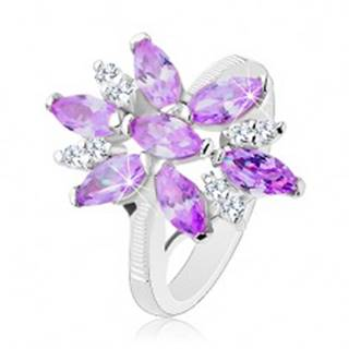 Prsteň v striebornej farbe, veľký kvet z fialových a čírych zirkónov - Veľkosť: 48 mm
