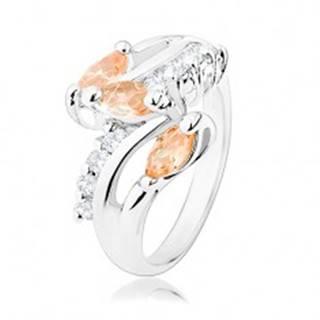 Prsteň v striebornom odtieni, číre zirkónové línie, oranžové brúsené zrnká - Veľkosť: 53 mm