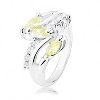 Prsteň v striebornom odtieni, číre zirkónové línie, žltozelené zrnká - Veľkosť: 51 mm