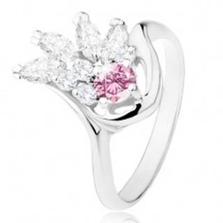 Prsteň v striebornom odtieni, číry zirkónový vejár, ružový zirkón - Veľkosť: 49 mm