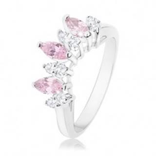 Prsteň v striebornom odtieni, ružové a číre zirkónové zrniečka - Veľkosť: 56 mm