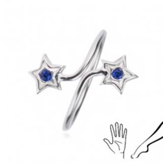 Prsteň zo striebra 925 - ramená s hviezdami, modré zirkóny