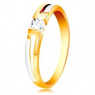 Prsteň zo zlata 585 - dvojfarebné ramená, číry zirkón v hranatom výreze - Veľkosť: 49 mm