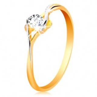 Prsteň zo zlata 585 - rozdelené dvojfarebné ramená, okrúhly číry zirkón - Veľkosť: 50 mm