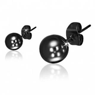 Puzetové náušnice z ocele, lesklé guličky čiernej farby