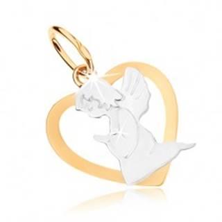 Ródiovaný prívesok z 9K zlata - obrys srdca s anjelikom, dvojfarebné prevedenie