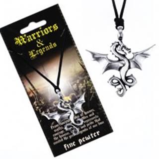 Šnúrkový náhrdelník - čierny, kovový prívesok, lietajúci drak