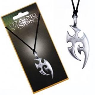 Šnúrkový náhrdelník - kovový prívesok, domorodý ornament