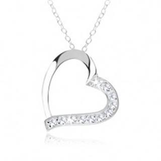 Strieborný náhrdelník 925, kontúra srdca, číre zirkóny na jednej polovici