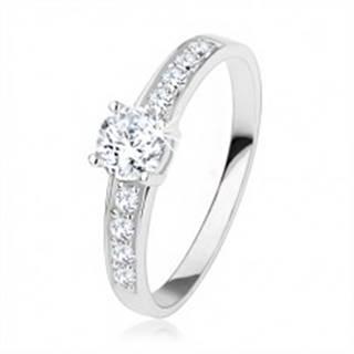 Strieborný prsteň 925, číre zirkóny, veľký okrúhly zirkón - Veľkosť: 50 mm