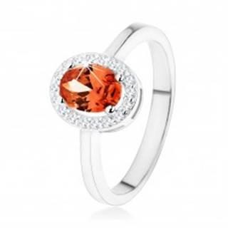 Strieborný prsteň 925, tmavo oranžový oválny zirkón, číry ligotavý lem - Veľkosť: 48 mm