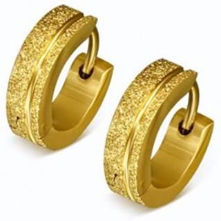 Trblietavé oceľové náušnice v zlatej farbe, pieskované krúžky, pásik