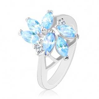 Trblietavý prsteň s lesklými ramenami, svetlomodré brúsené zirkóny - Veľkosť: 56 mm