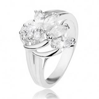 Trblietavý prsteň v striebornom odtieni zdobený oblúčikmi a čírymi zirkónmi - Veľkosť: 54 mm