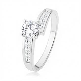 Trblietavý strieborný prsteň 925 vykladaný zirkónmi, veľký číry kamienok - Veľkosť: 49 mm