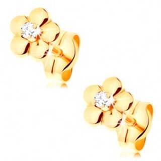 Zlaté náušnice 585 - malý lesklý kvietok, vyvýšený číry diamant v strede