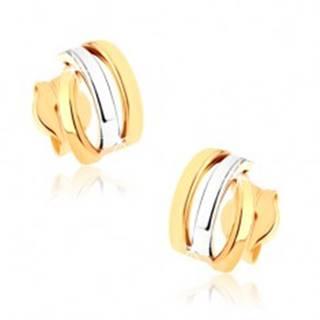 Zlaté puzetové náušnice 375 - tri ligotavé oblúčiky, dvojfarebné