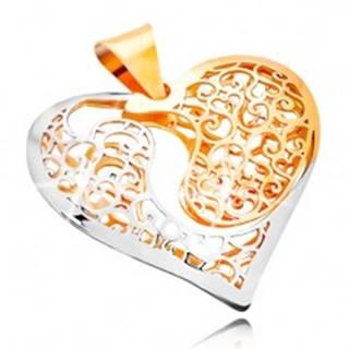 Zlatý prívesok 585 - dvojfarebné srdce s výrezom a filigránovým zdobením