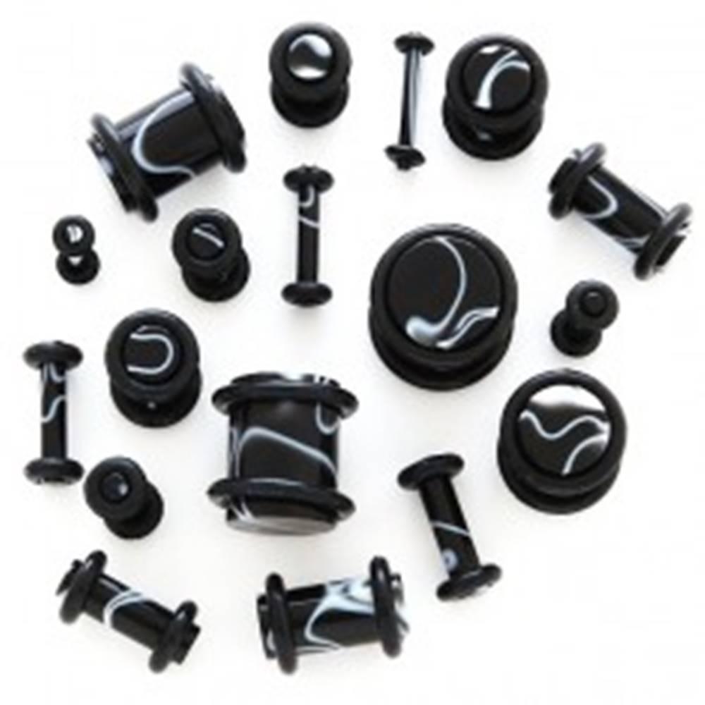 Šperky eshop Čierny plug do ucha - biele vlnky - Hrúbka: 1,2 mm