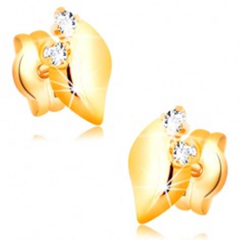 Šperky eshop Diamantové náušnice zo žltého 14K zlata - dva číre brilianty, lesklý lístoček
