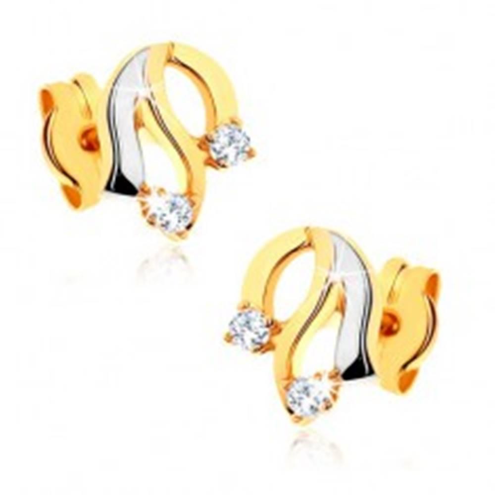Šperky eshop Diamantové zlaté náušnice 585 - lesklé zvlnené línie, trblietavé číre brilianty